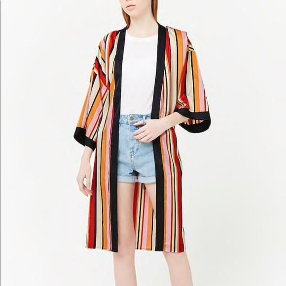 Forever 21 Sweaters - NWT Forever 21 Striped Satin Kimono SZ-Small